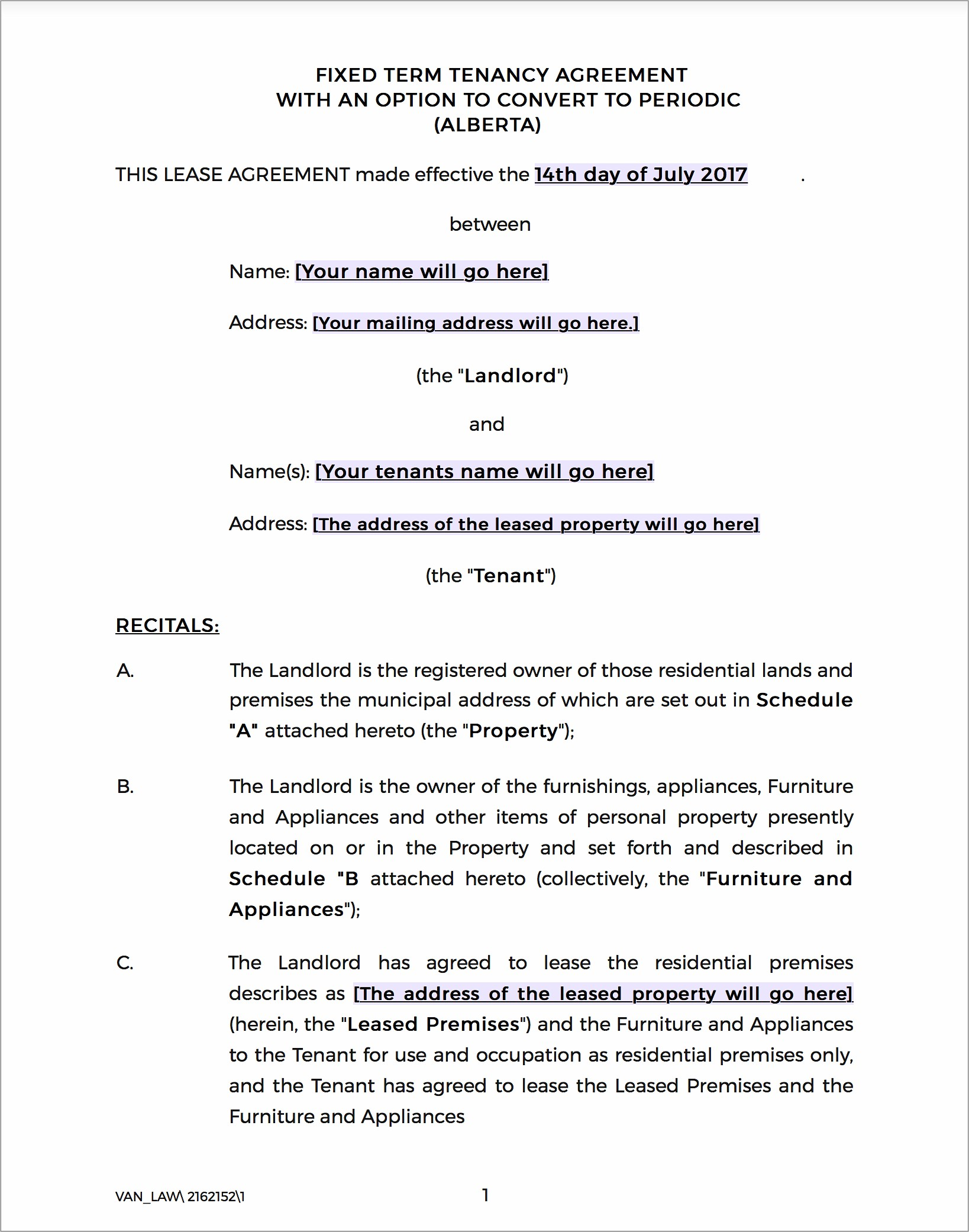 Landlord Tenant Act Lease Agreement Ontario