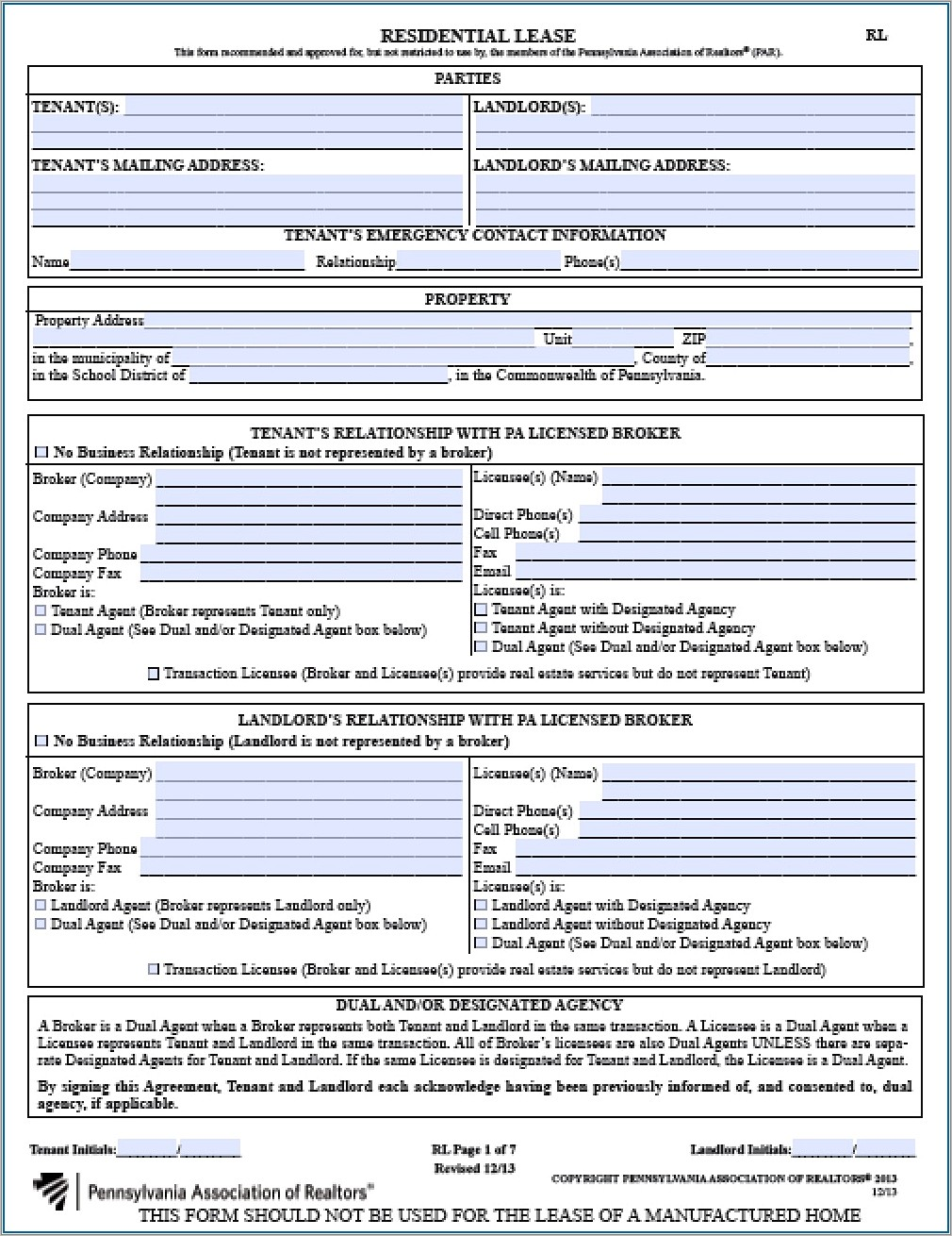 Landlord Tenant Lease Agreement Pa