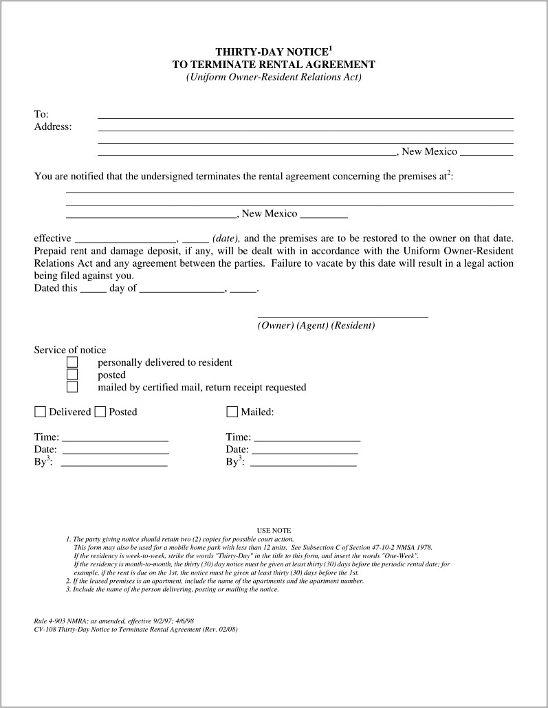 Landlord Termination Of Lease Letter Sample