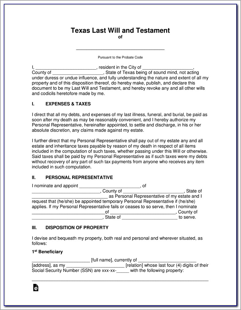 Last Will And Testament Texas Form