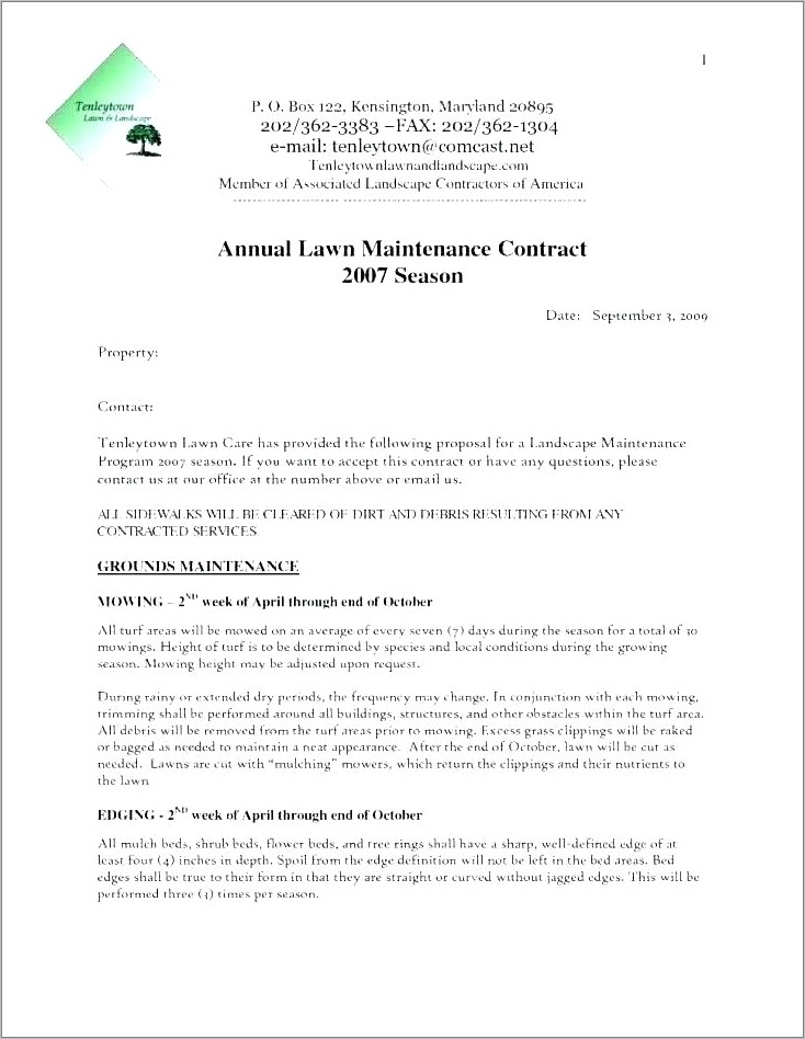 Lawn Care Contracts Templates Free