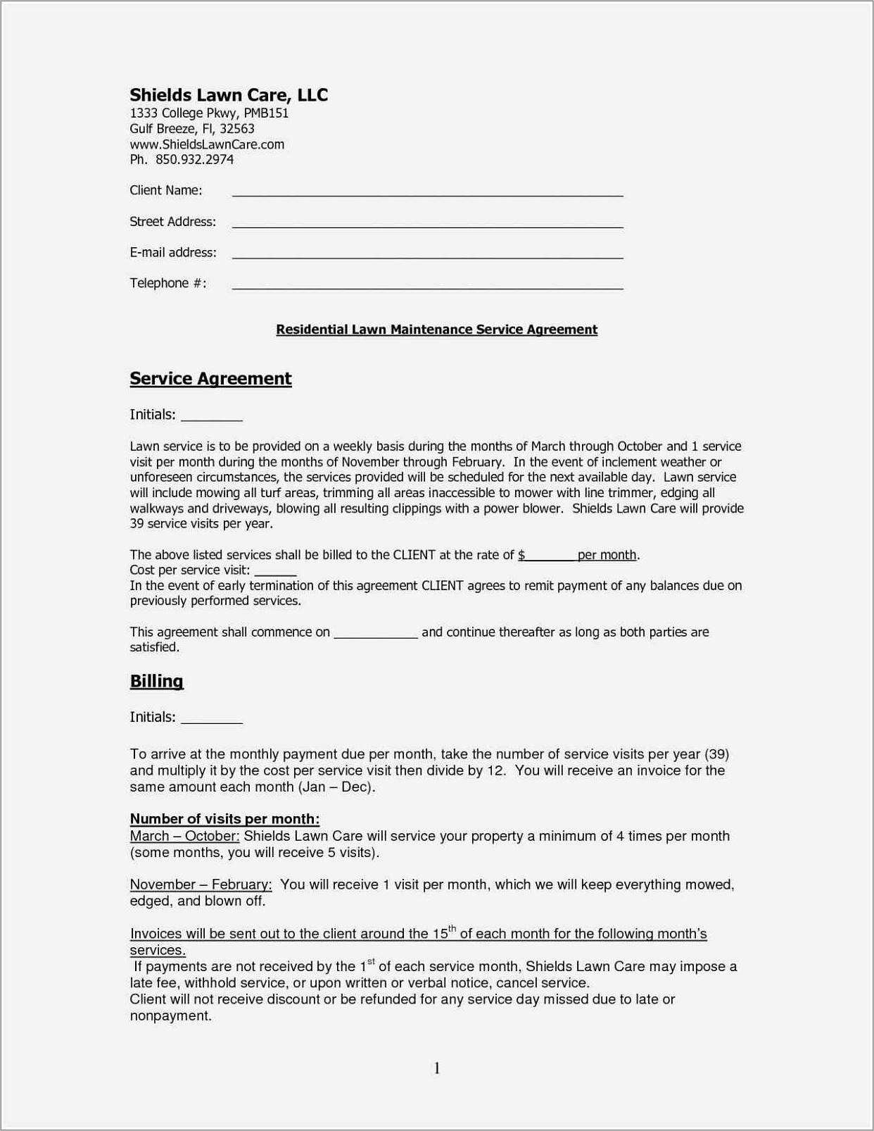Lawn Service Contract Example