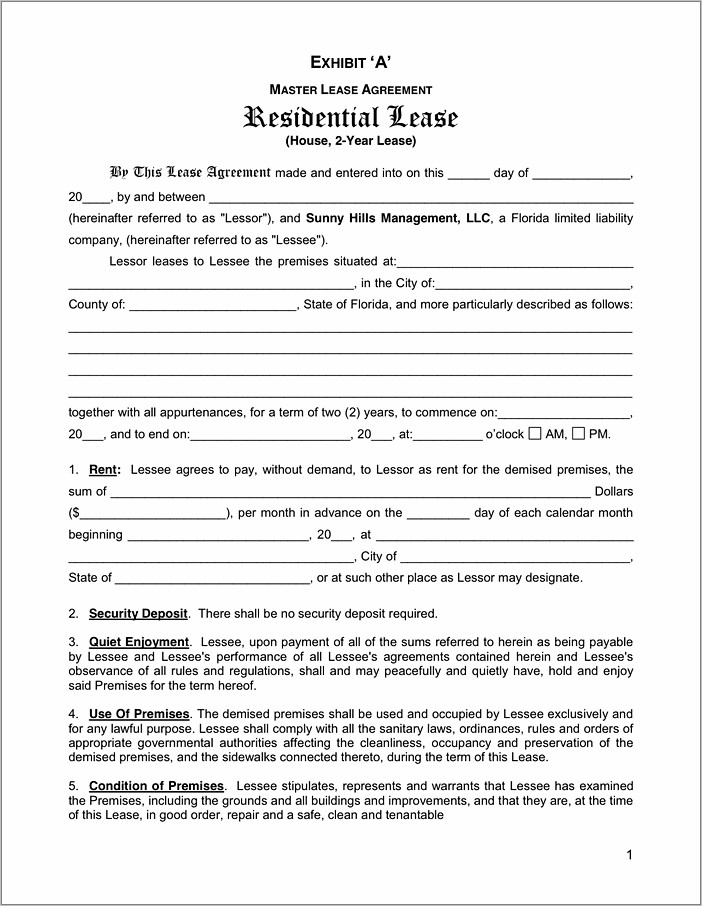 Lease Agreement Florida Residential