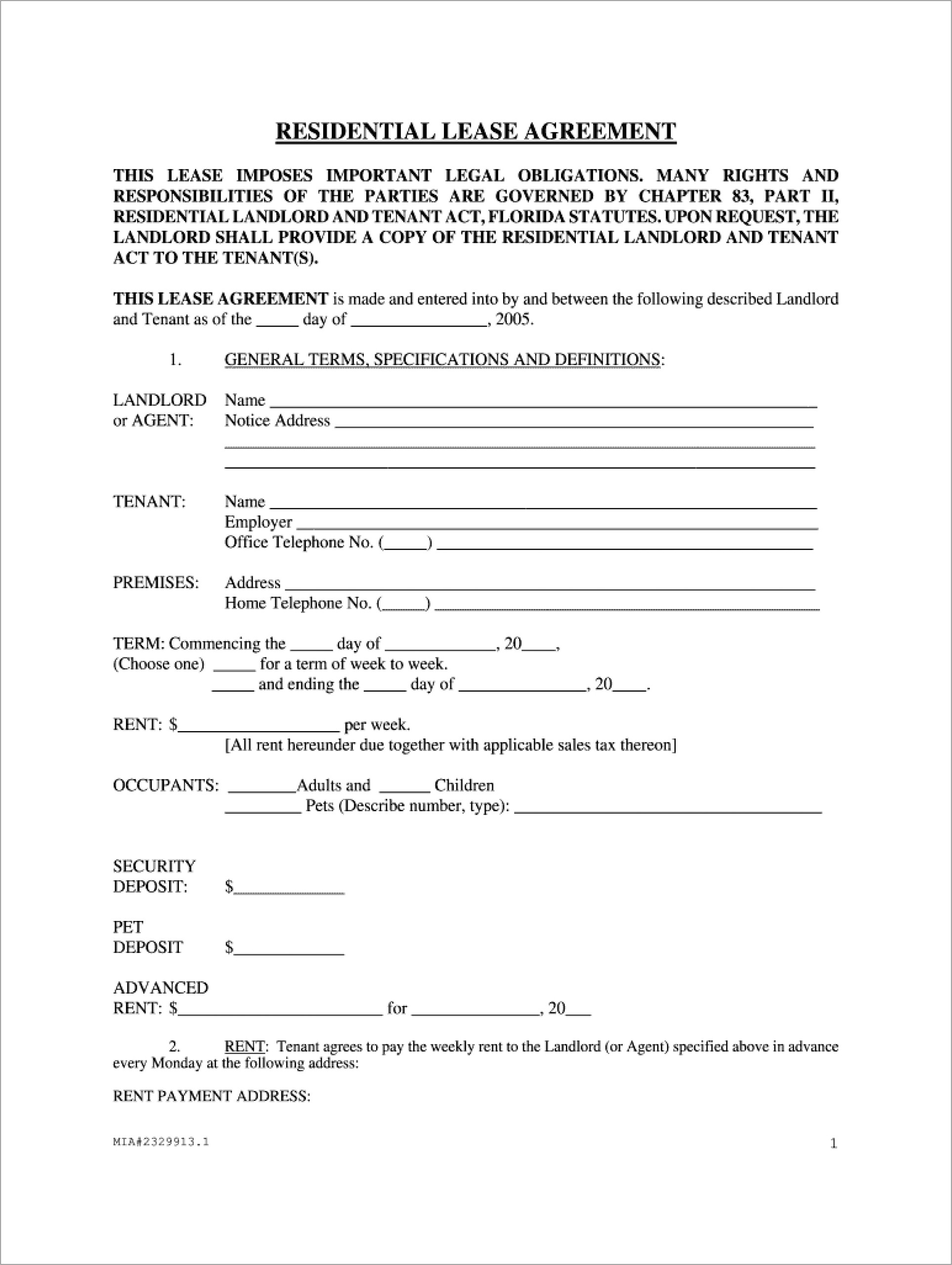 Lease Agreement Florida Word