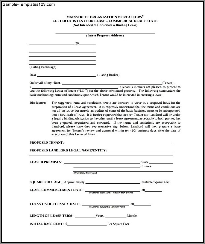 Lease Letter Of Intent Sample