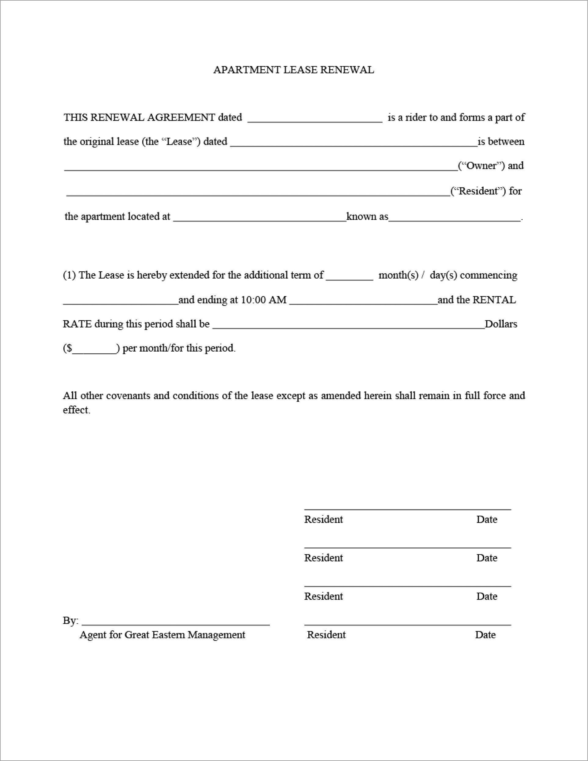 Lease Renewal Agreement Template