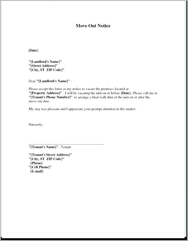 Lease Termination Notice Letter To Landlord
