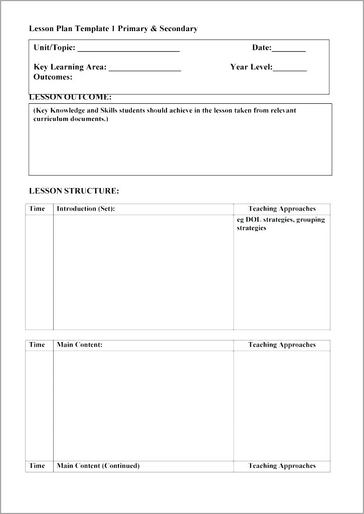 Lesson Plan Format For Common Core Standards