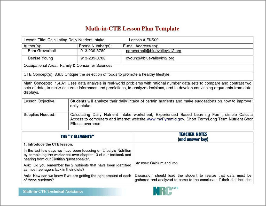 Lesson Plan Observation Form