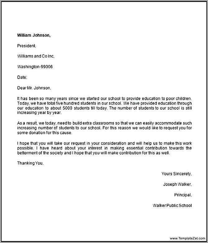 Letter Asking For Donations From Businesses Template