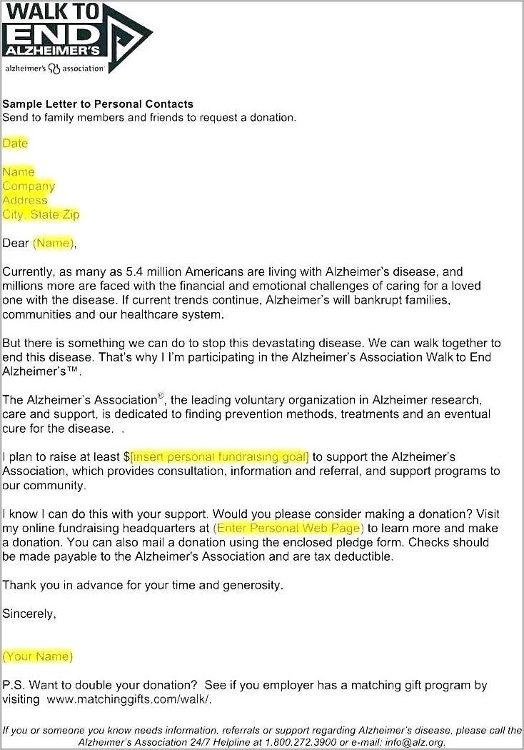 Letter For Fundraising Example