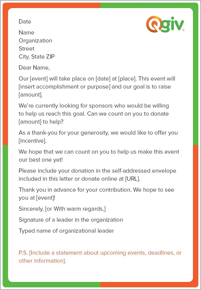 Letter For Fundraising Template