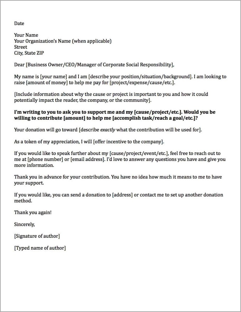Letter Of Donation Request Sample To Companies