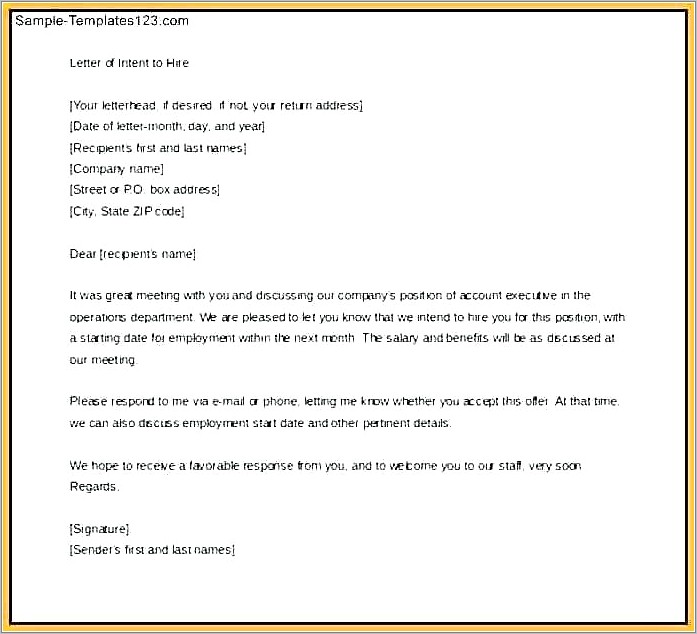 Letter Of Intent Employer Template
