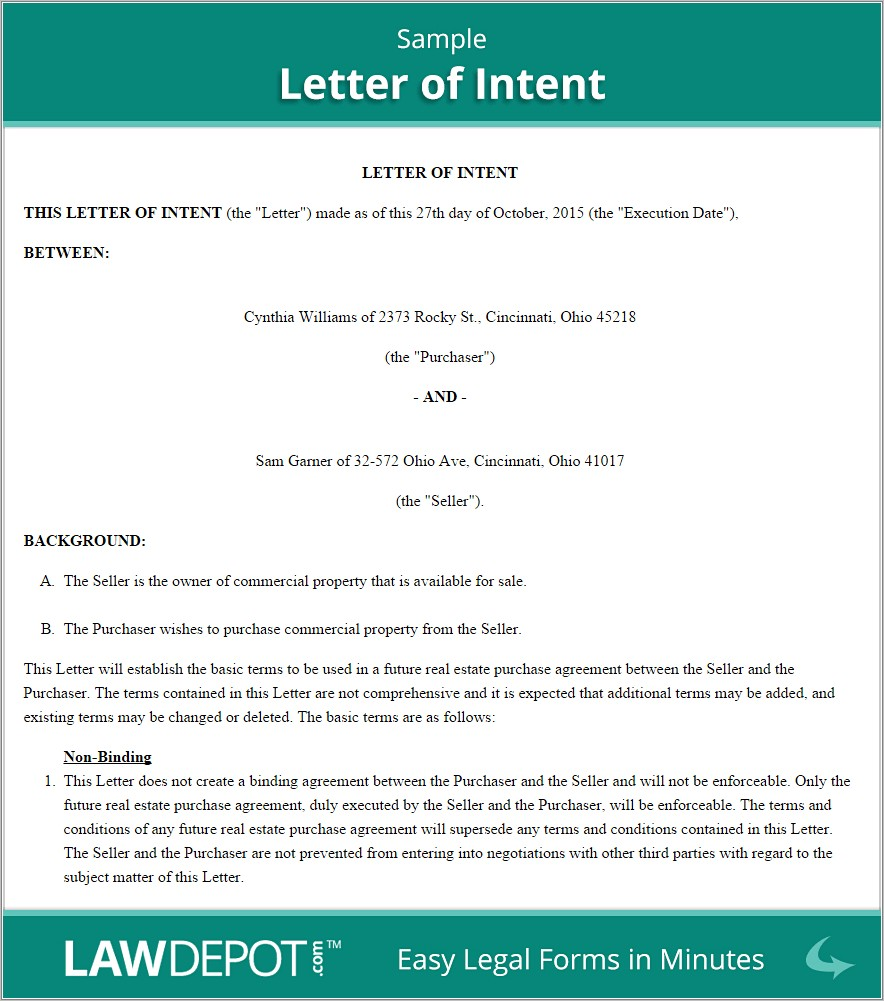 Letter Of Intent Template Law