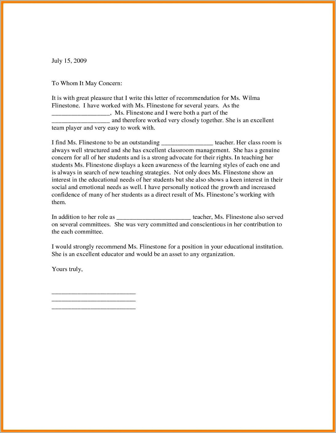 Letter Of Recommendation Template For College Professor