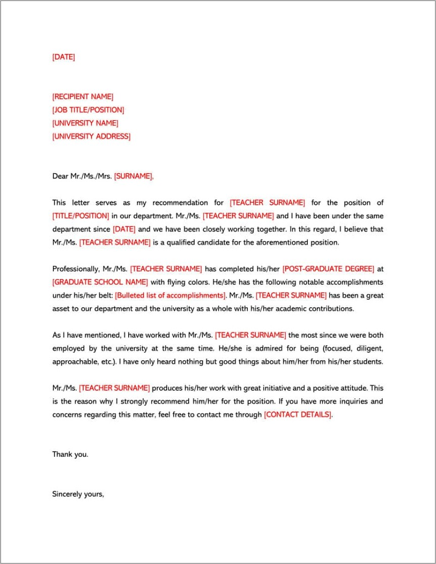 Letter Of Recommendation Template For College Student