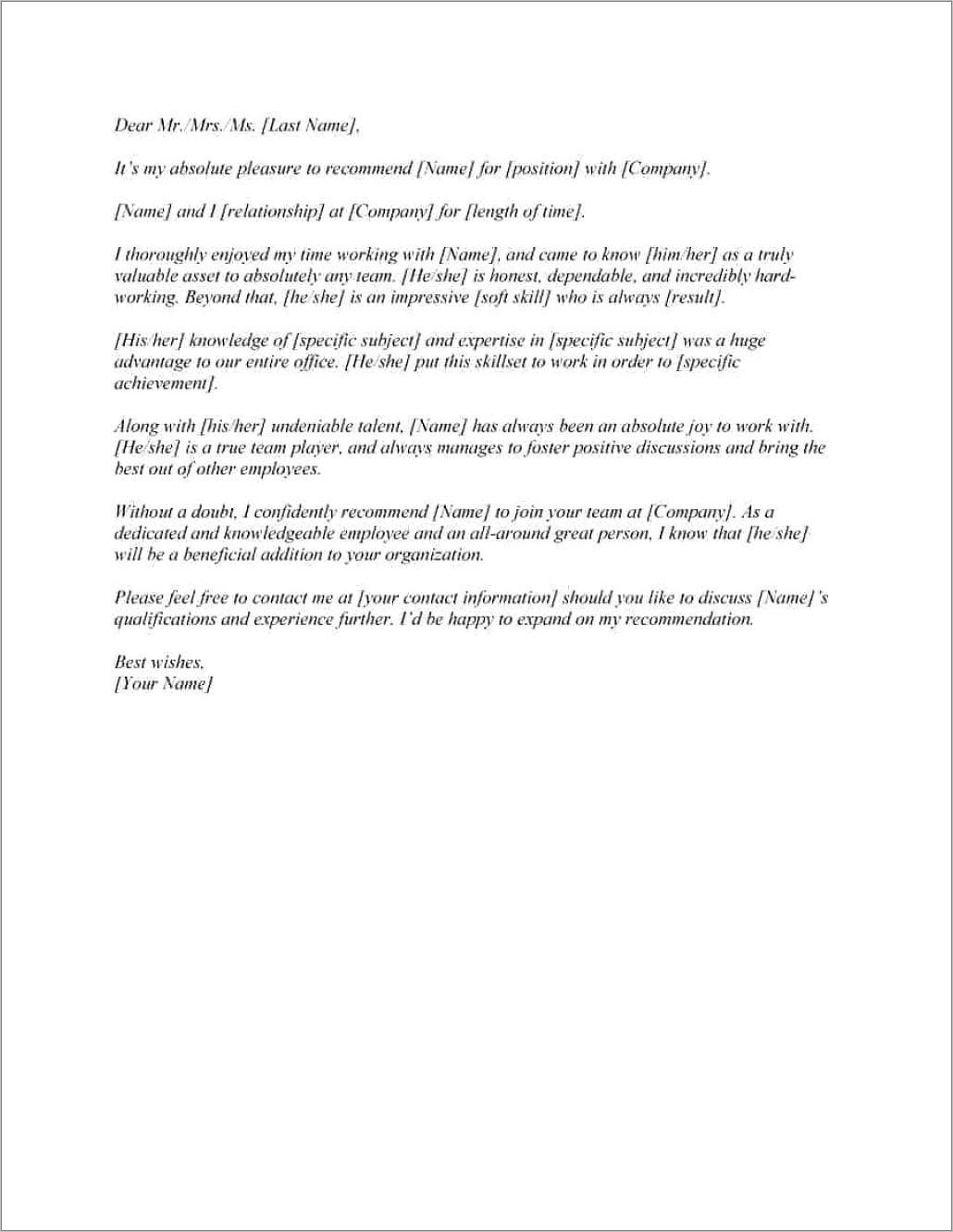 Letter Of Recommendation Template For Employee
