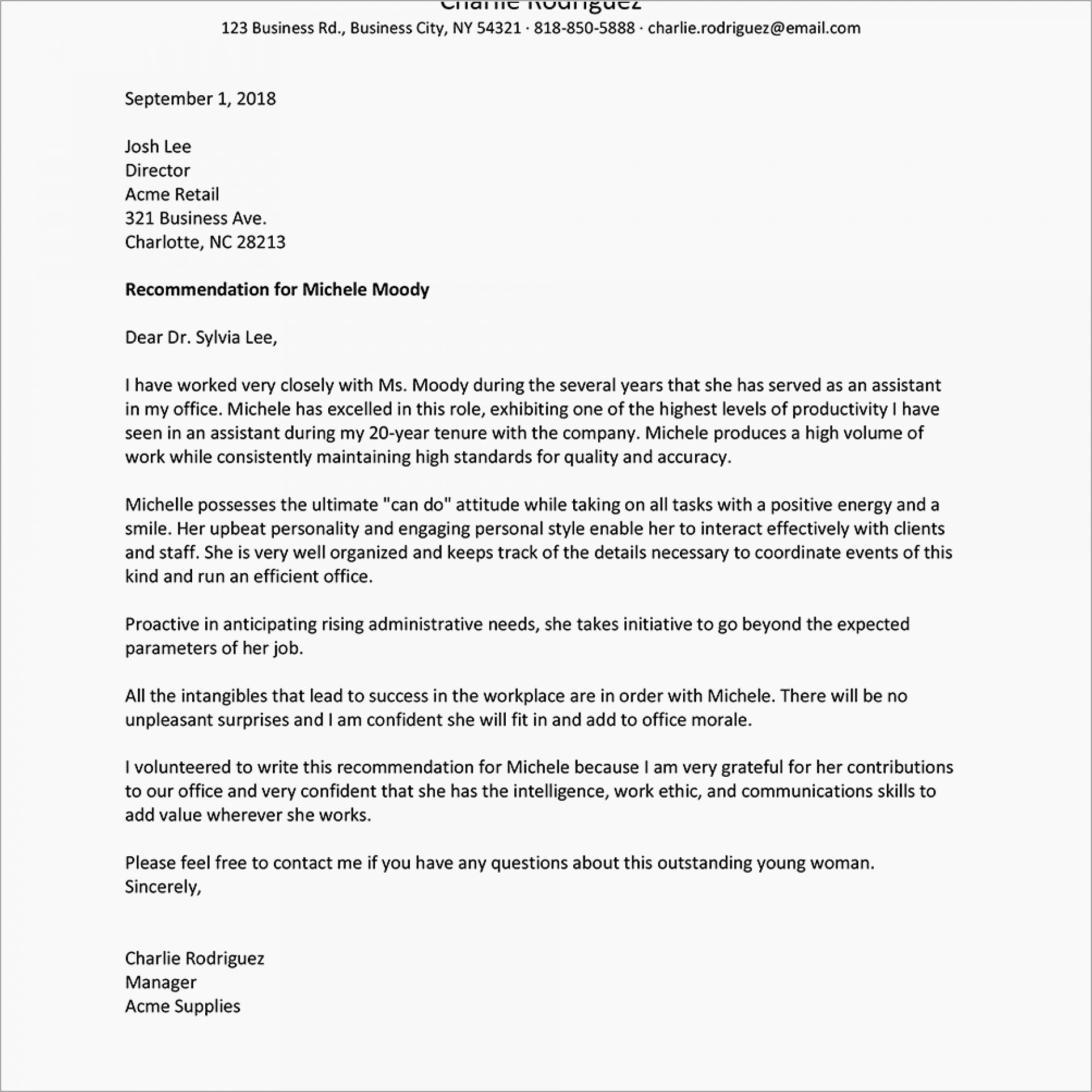 Letter Of Reference Template For Employee