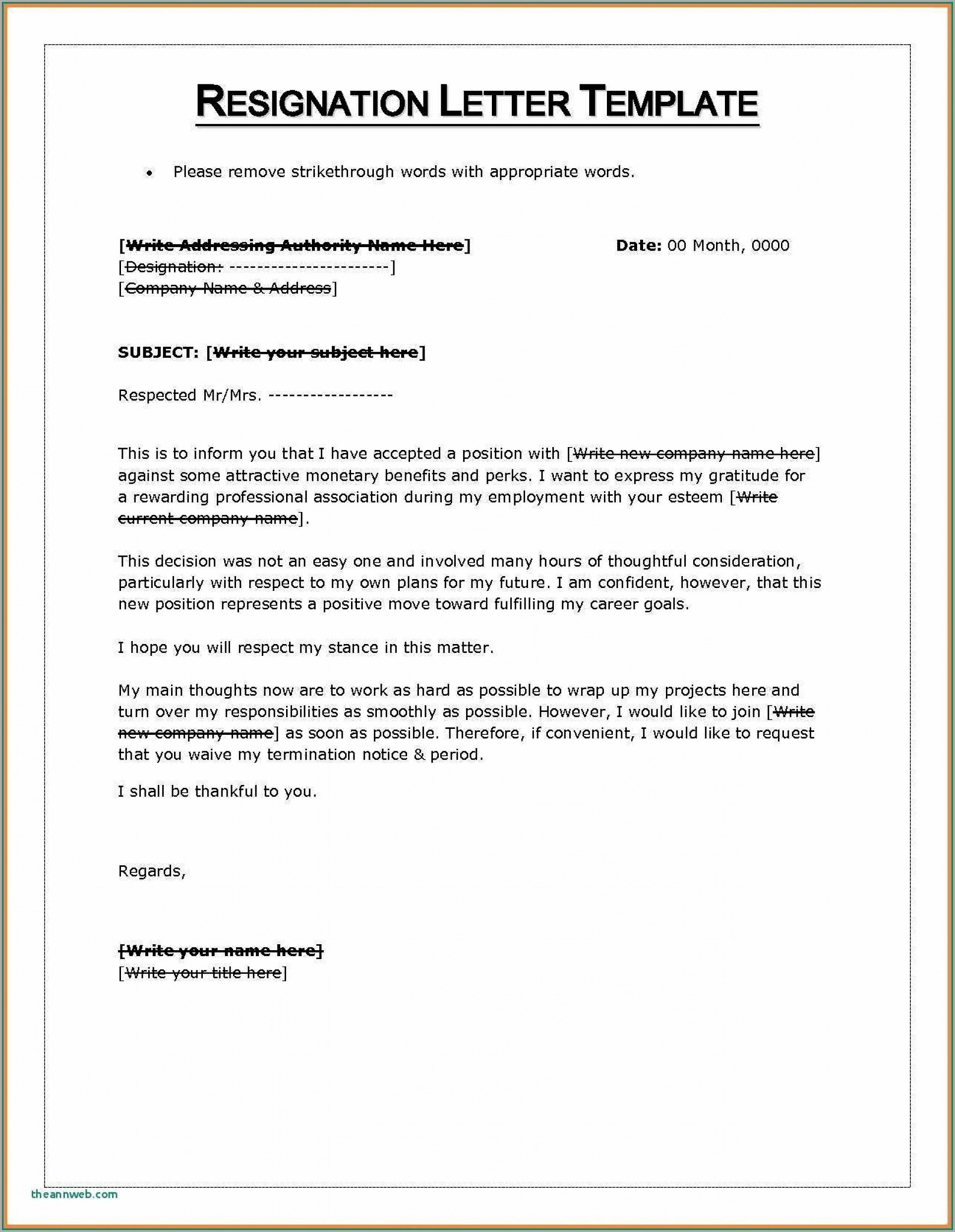 Letter Of Resignation Format Word