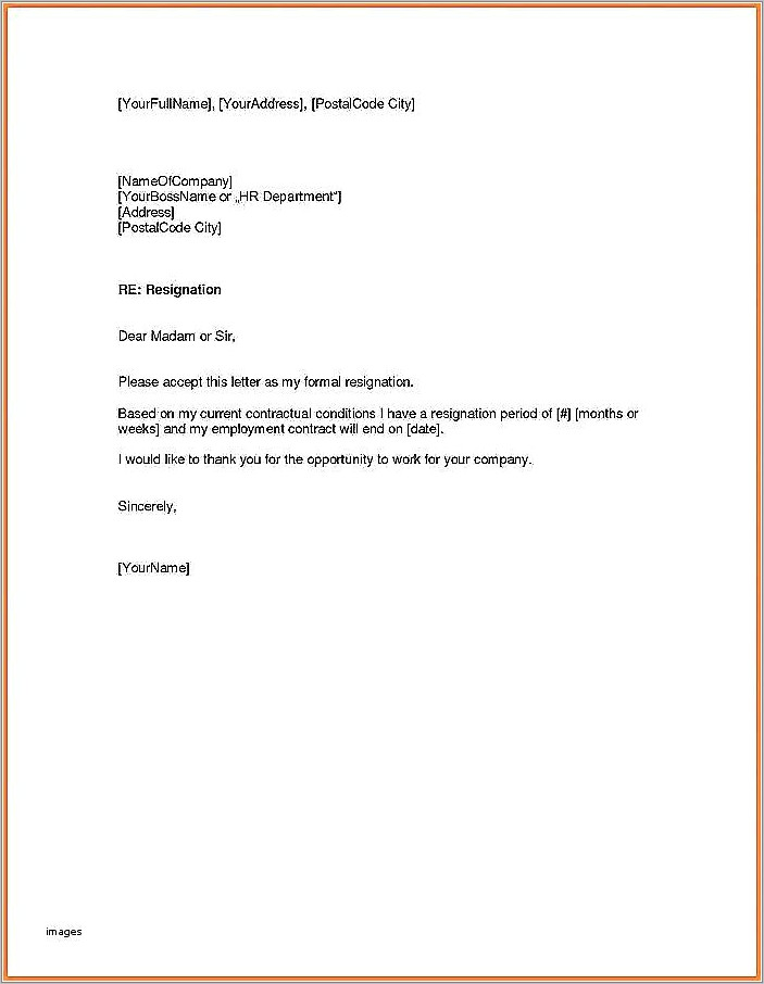 Letter Of Resignation Sample Two Weeks Notice