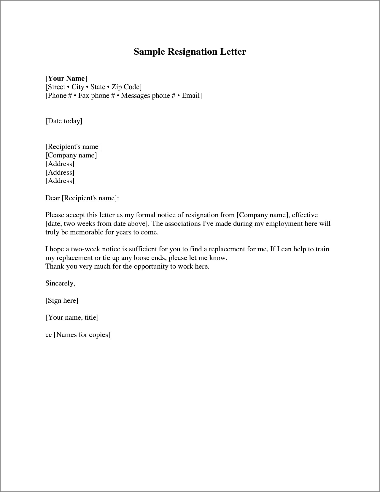 Letter Of Resignation Template 2 Weeks Notice
