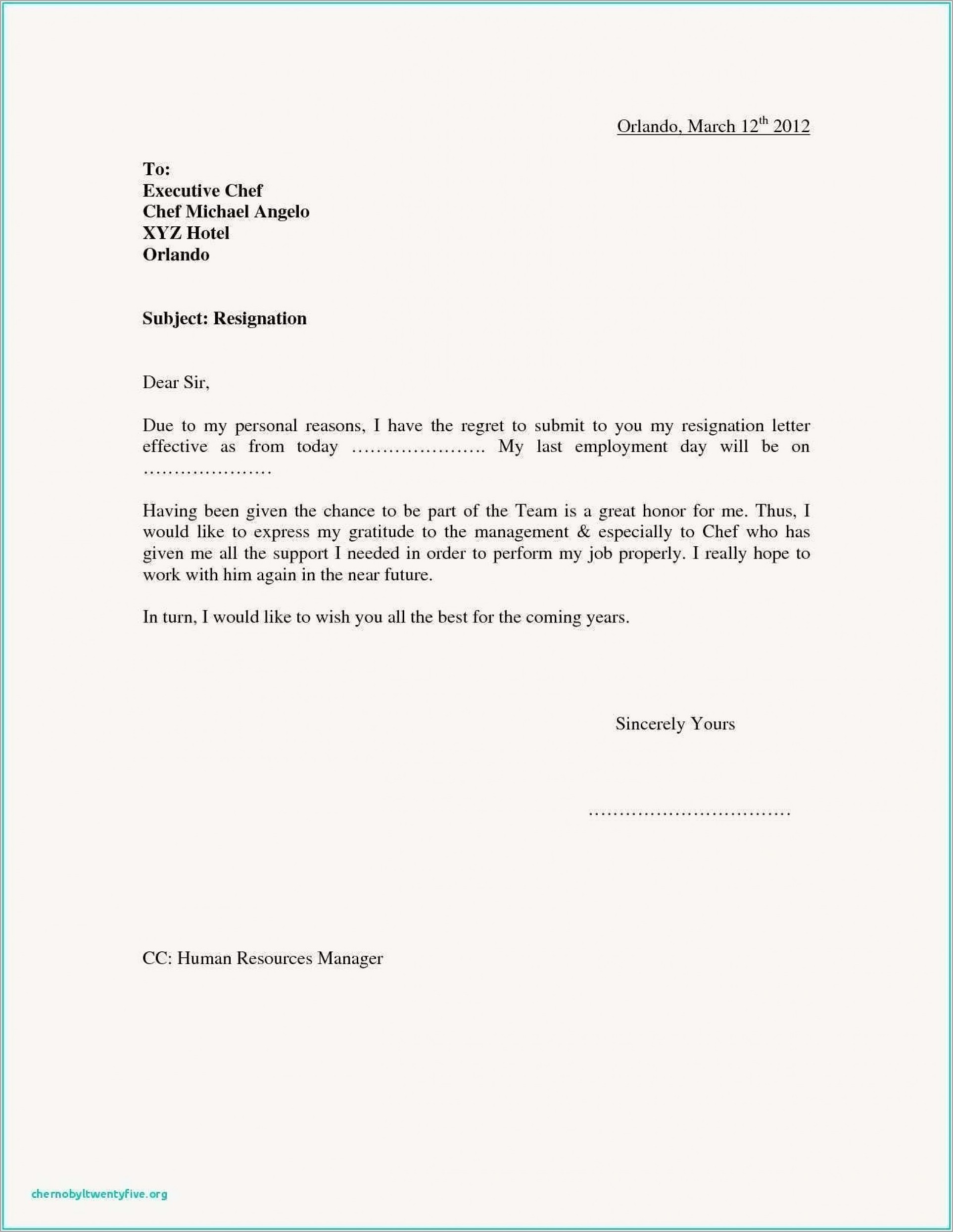 Letter Of Resignation Template Pdf Free