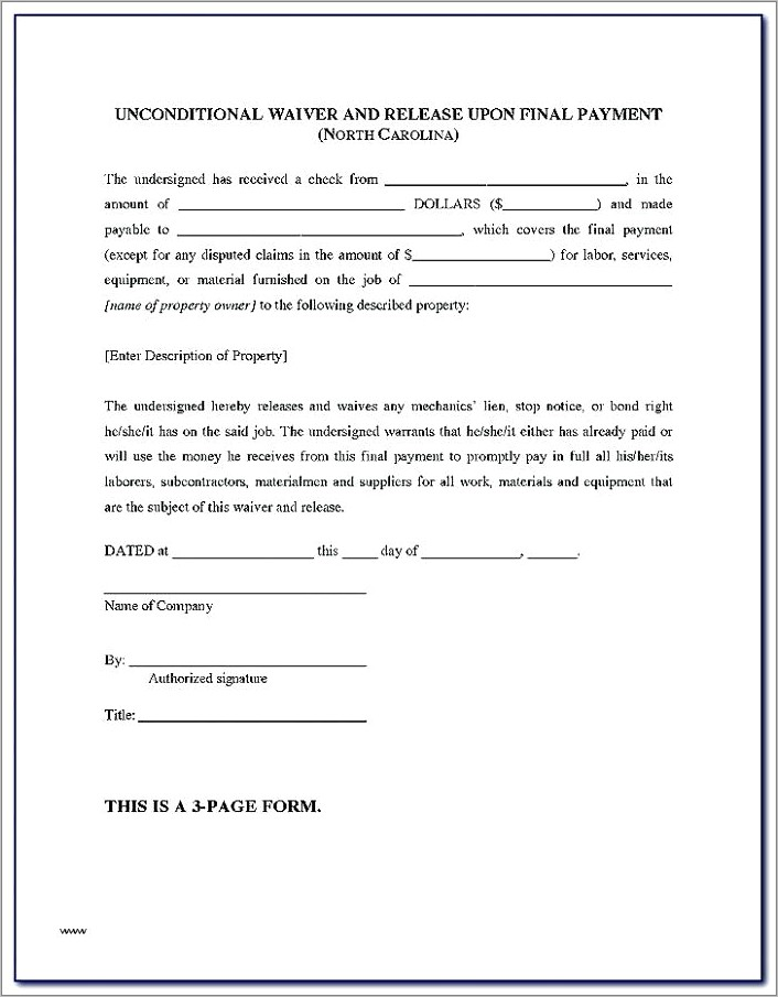 Lien Waiver Word Document