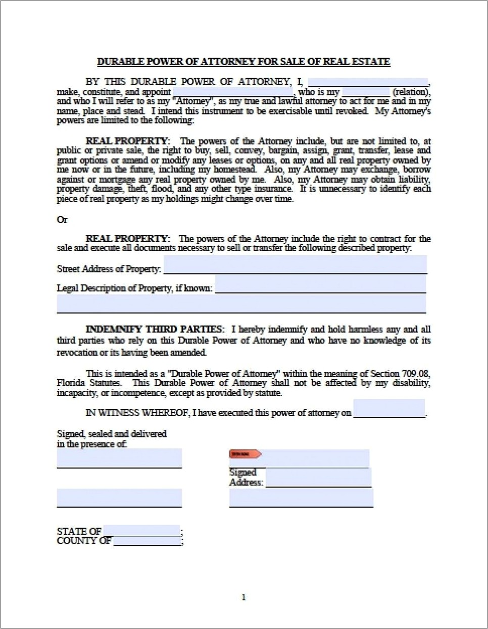 Limited Durable Power Of Attorney Form Florida