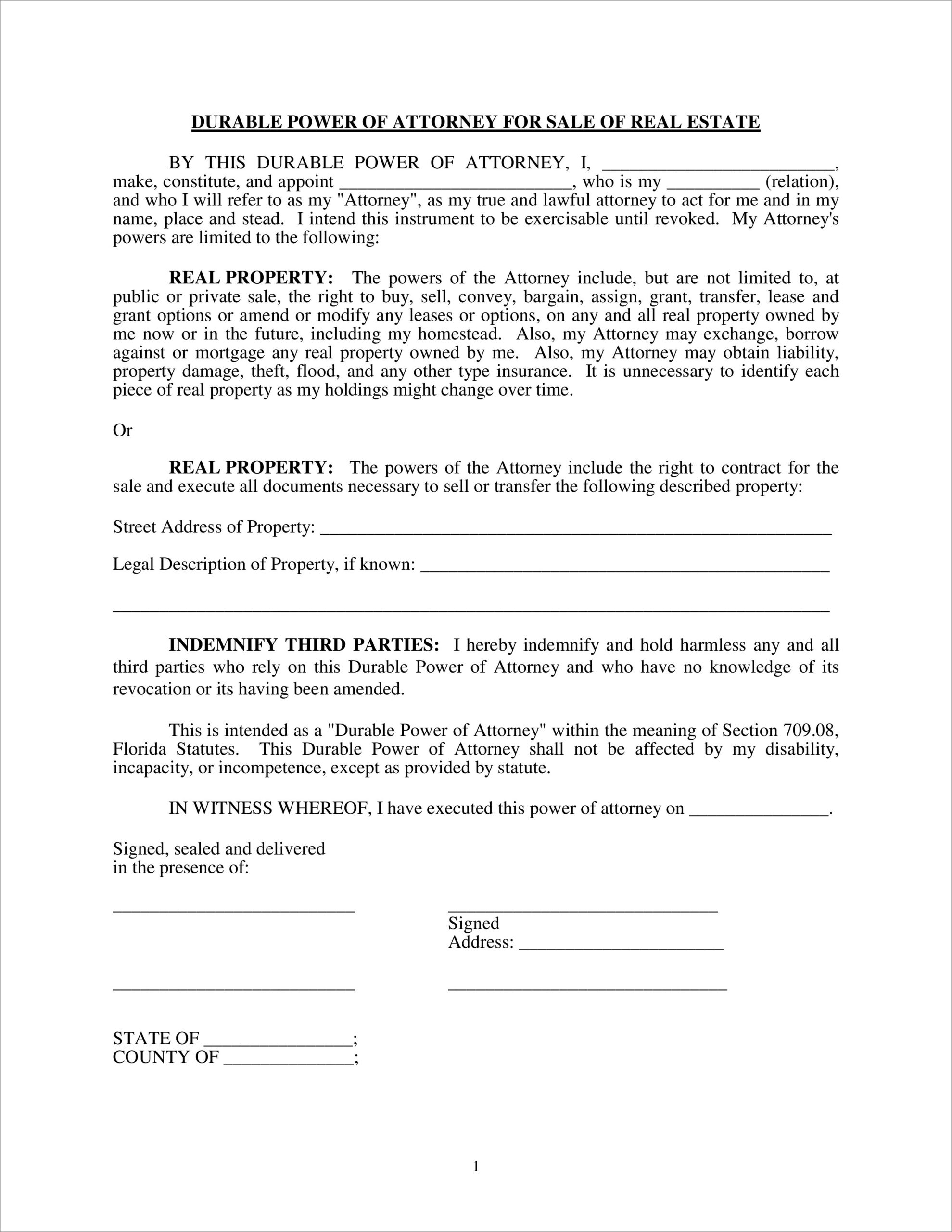 Limited Power Of Attorney Florida Sample