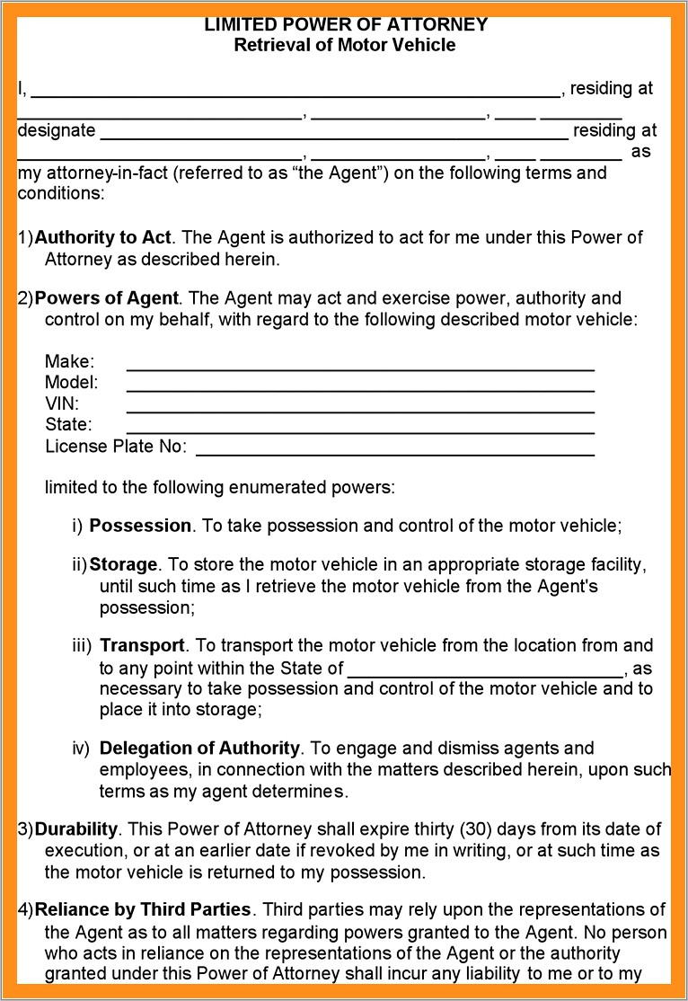Limited Power Of Attorney Form California