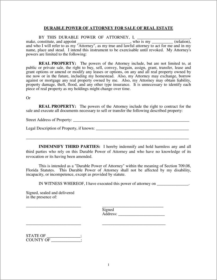 Limited Power Of Attorney Form Ny