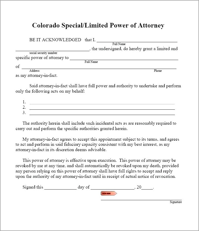 Limited Power Of Attorney Form Pa