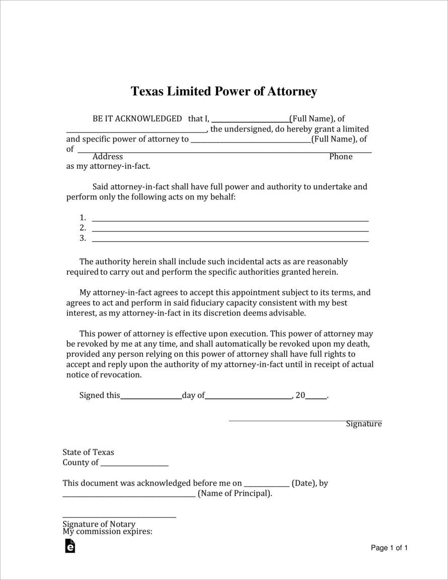 Limited Power Of Attorney Template Louisiana