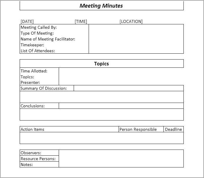 Lions Club Meeting Minutes Template