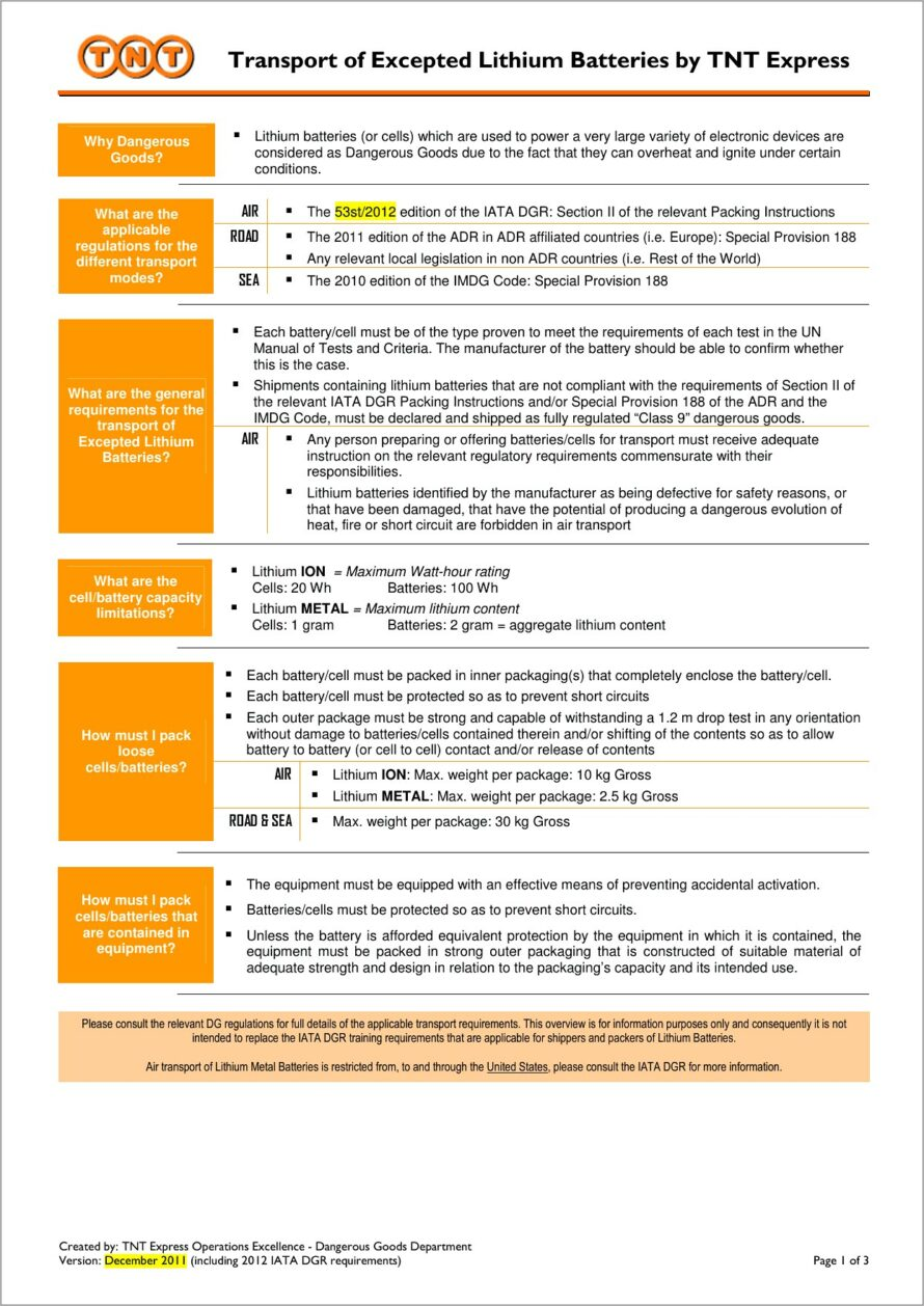 Lithium Battery Consignment Document Template
