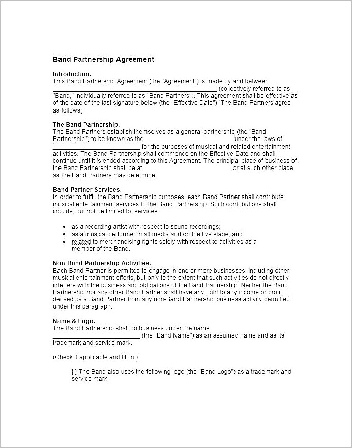 Live Band Contract Template
