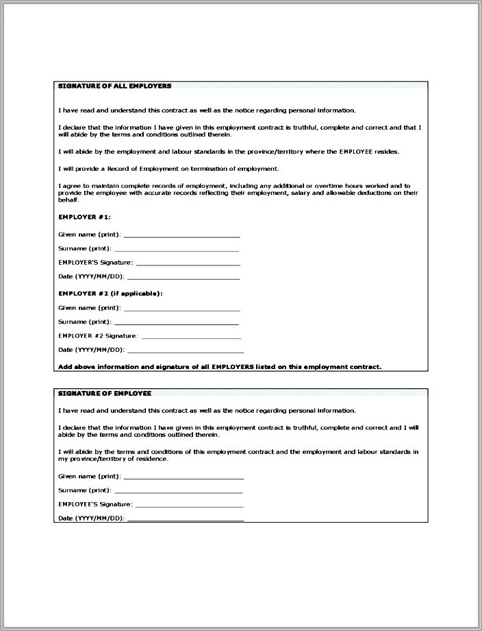 Live In Caregiver Contract Template Canada