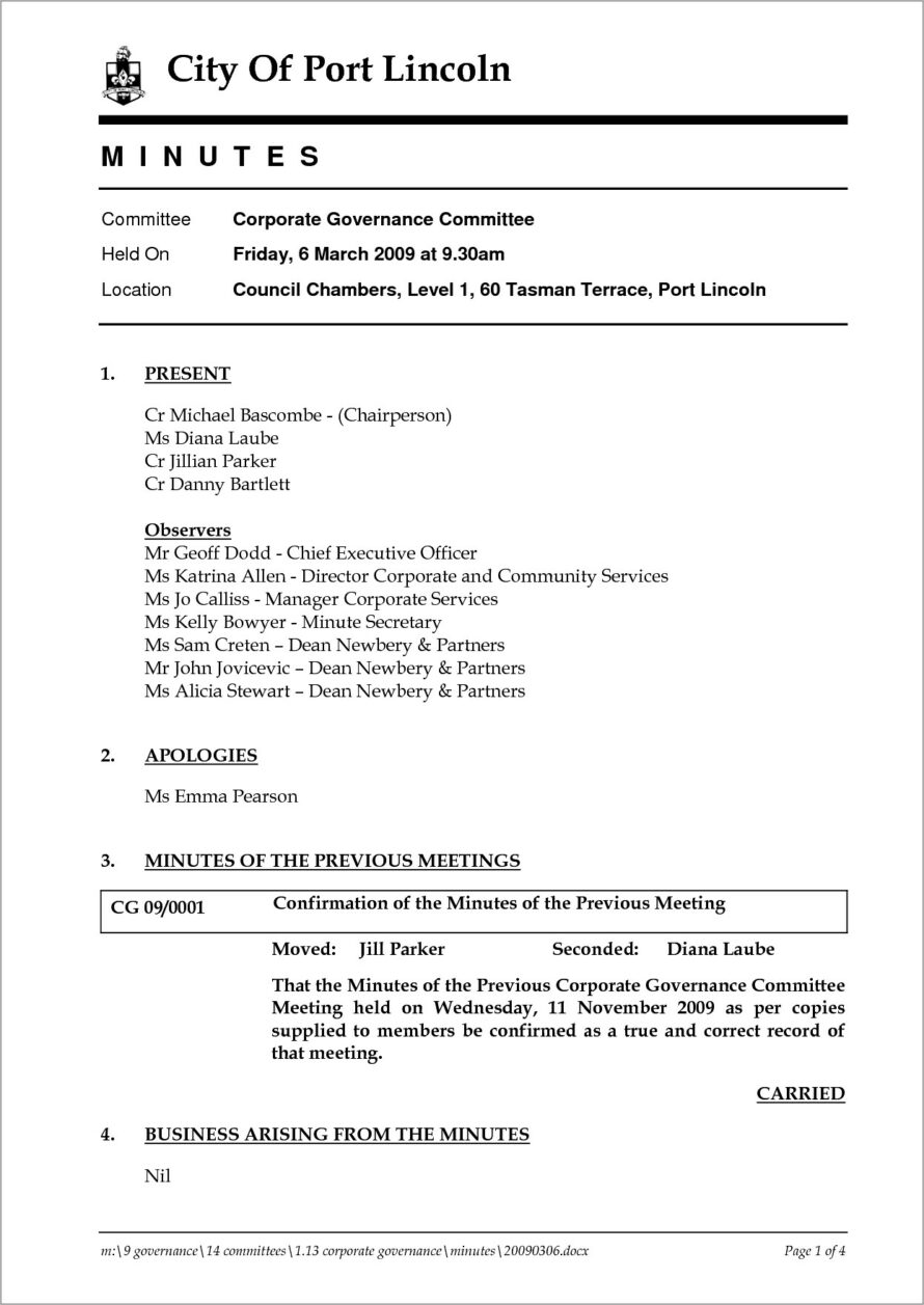 Llc Meeting Minutes Word Template