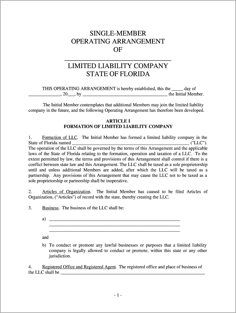 Llc Operating Agreement Florida Free Template