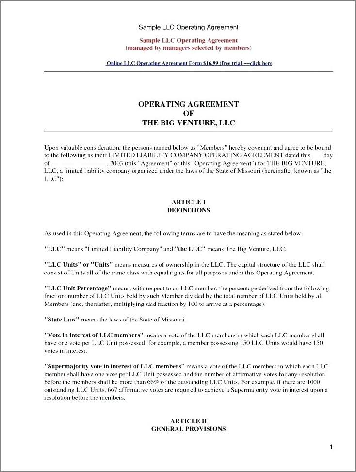 Llc Operating Agreement Template California Free