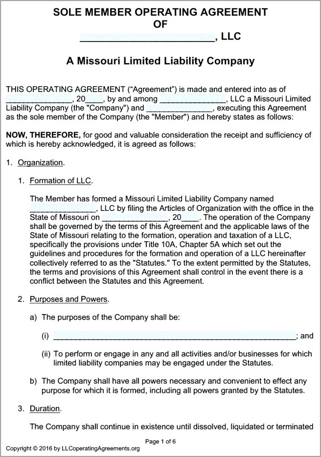 Llc Operating Agreement Template Virginia