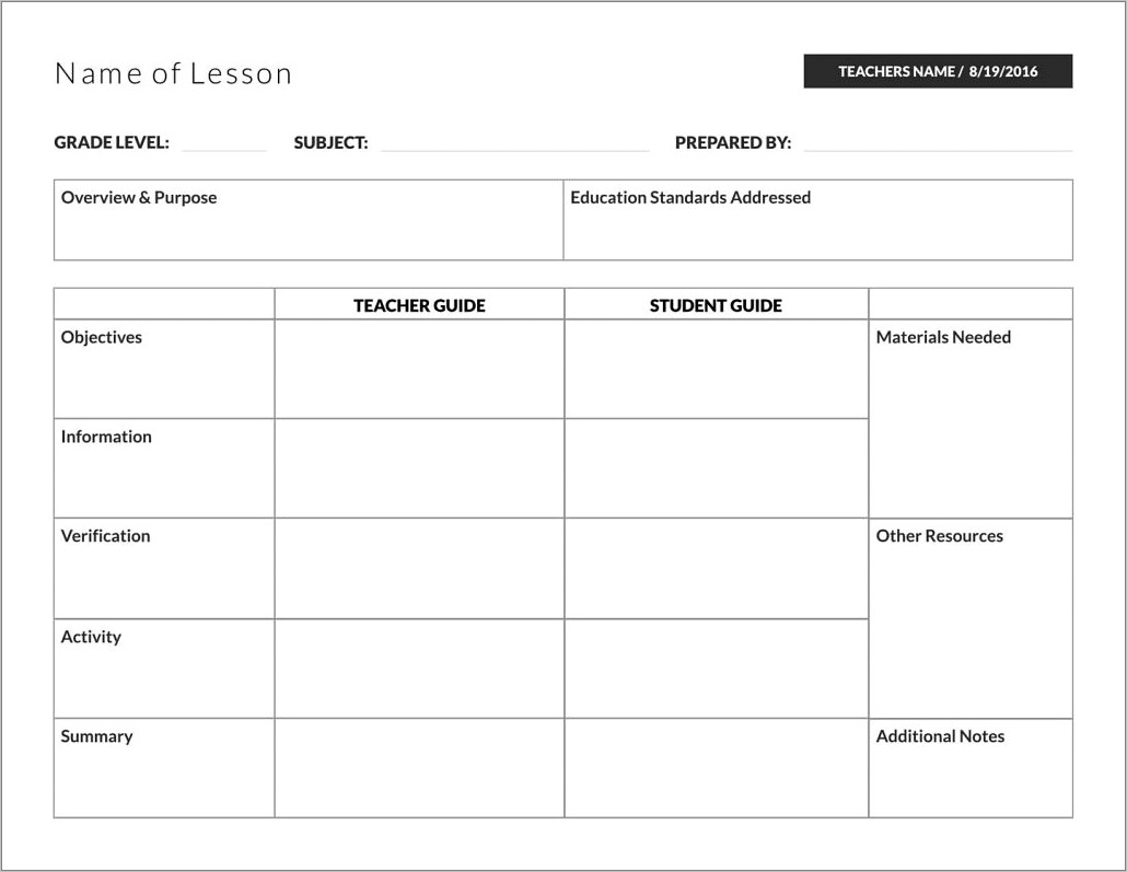 Lli Lesson Plan Template Red