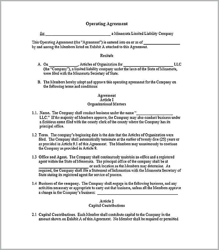 Llp Agreement Form 3