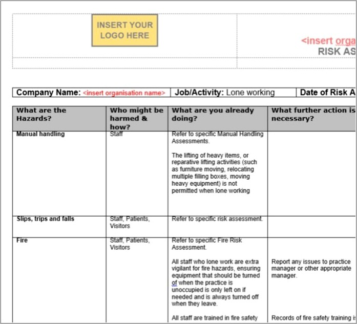 Lone Worker Risk Assessment Template Free