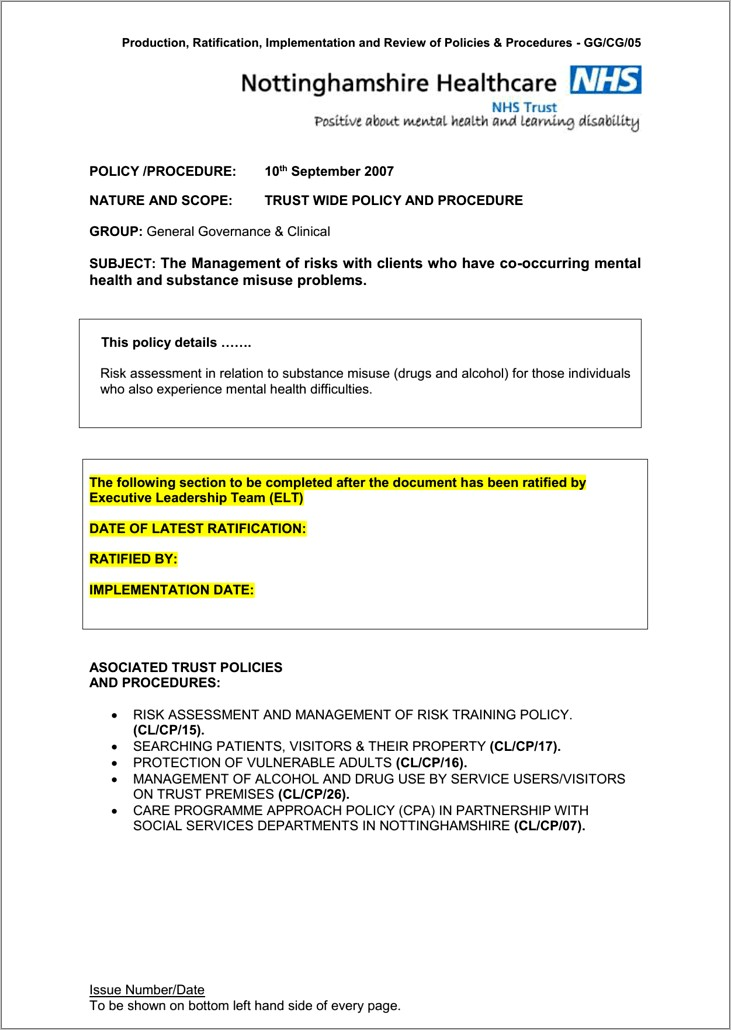 Lone Worker Risk Assessment Template Nhs