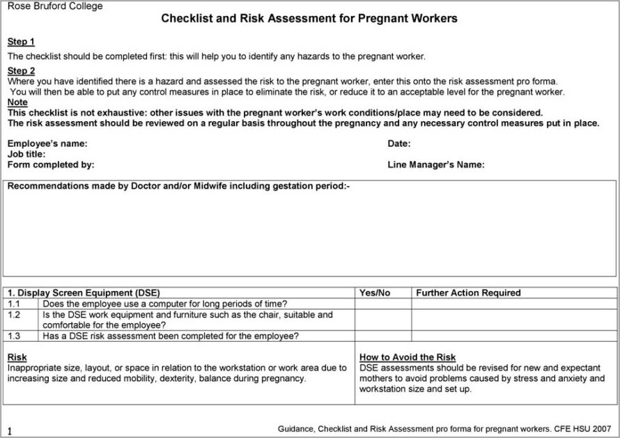 Lone Working Risk Assessment Example Nursery