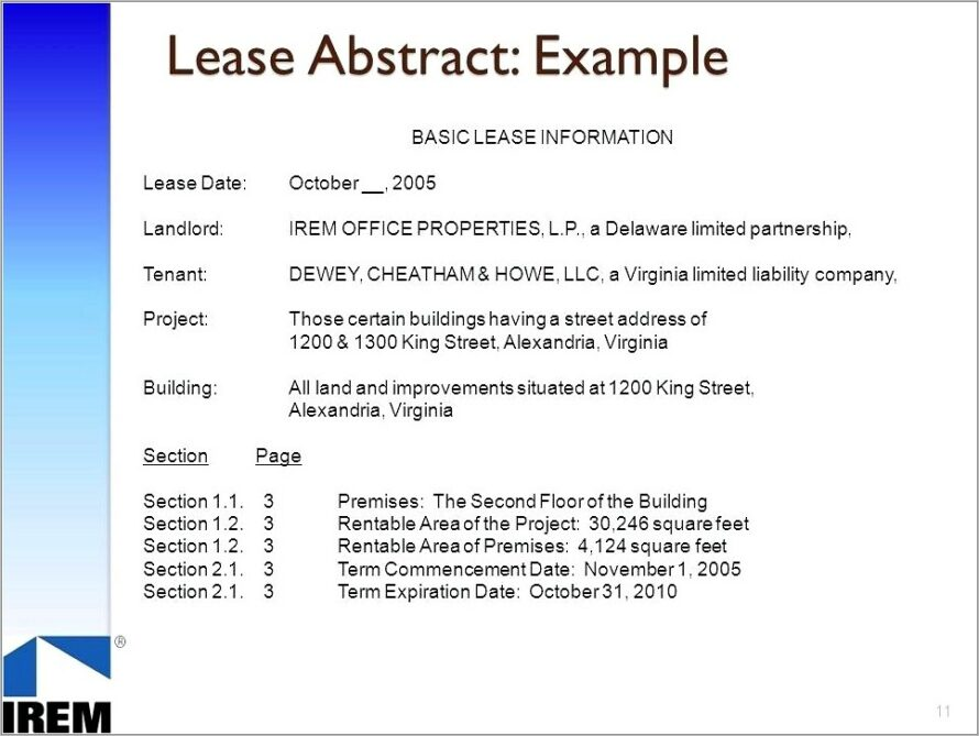Looking For A Lease Abstract Template Word