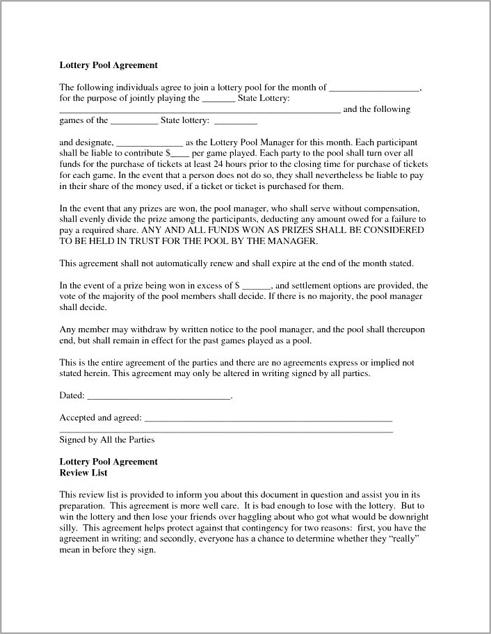 Lotto Pool Agreement Form