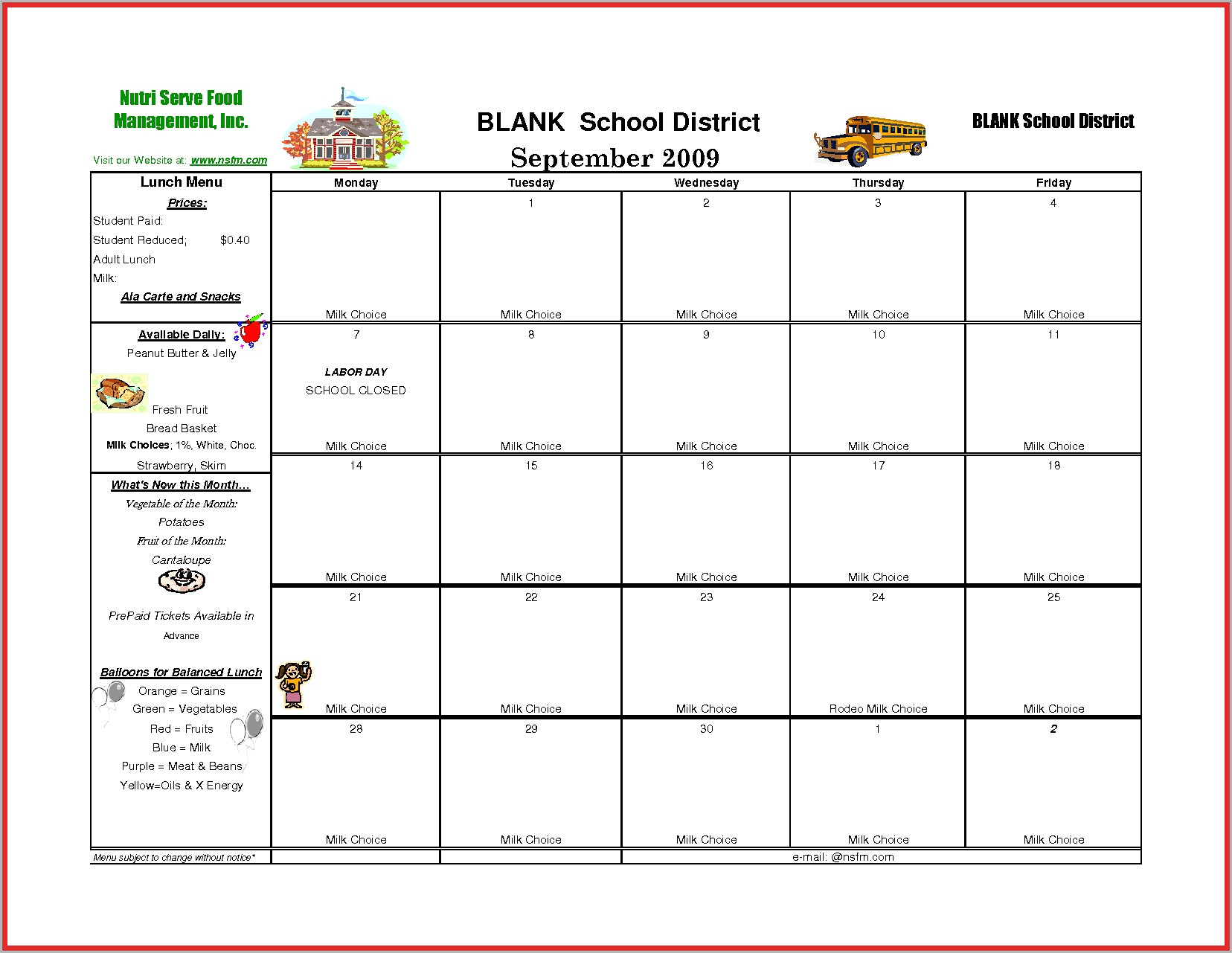Lunch Menu Template For School